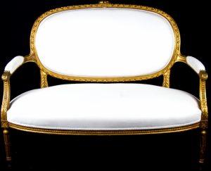 1850 Gustavian Gilt Handcarved 2 Seat Sofa
