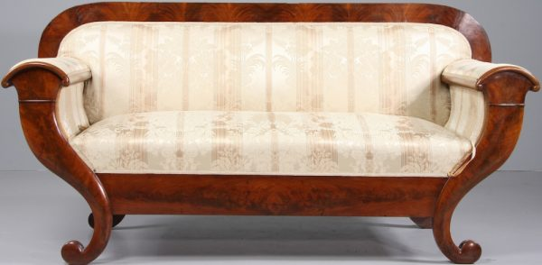 1800s Biedermeier Carved Mahogany Sofa