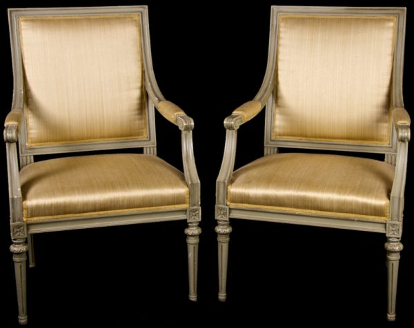 1900s Gustavian Square Back Carver Chairs Gold Fabric