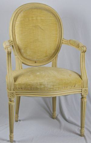 1900s Gustavian Ivory White Carver Chair
