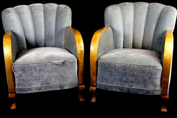 Swedish Original Art Deco Alcoholiste Armchairs