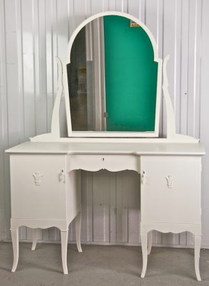 1800s White Gustavian Curve Top Dressing Table