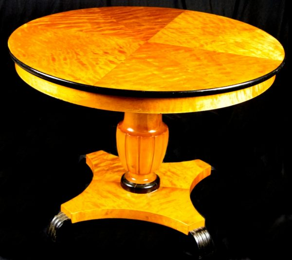 1800s Swedish Biedermeier Golden Birch Veneer 1/4 Top Table with ormulu detailing
