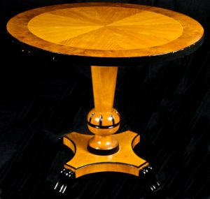 1800s Swedish Biedermeier Golden Birch Veneer 1/8 Top Table with ormulu detailing and central carved pedestal