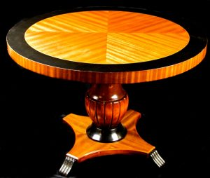 1800s Swedish Biedermeier 1/4 Top Ormulu Table with flame golden birch veneer and central urn pedestal