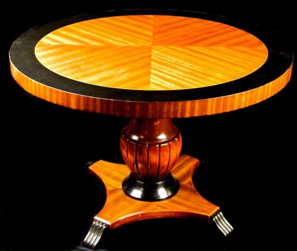 1800s Swedish Biedermeier 1/4 Top Ormulu Table with flame golden birch veneer and central urn pedestal