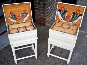 inside view -1800s Swedish Country Folk Art Bedside Tables with handpainted folk art