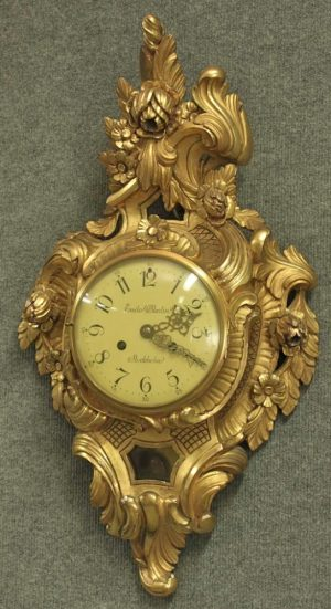 1900s Swedish Gilt Pendyl Wallclock  'Emil Skolin'