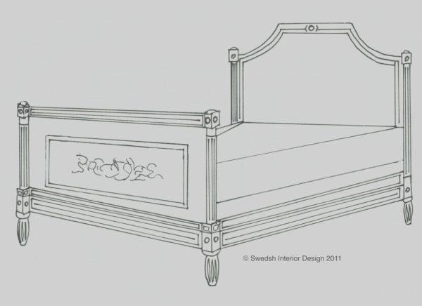 Bespoke Handmade Gustavian Scoop Leg Bed