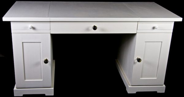 Handmade Bespoke Architects White Painted Pedestal Desk with architects drawing board underlighting