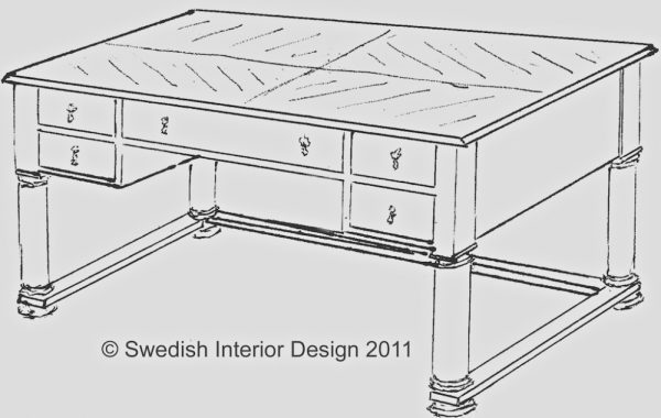 Handmade Bespoke Biedermeier 1/4 Top Pedestal Desk Design with top grade golden birch or walnut veneer