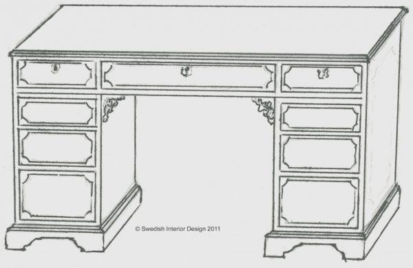 Handmade Bespoke Biedermeier Veneer Pedestal Desk