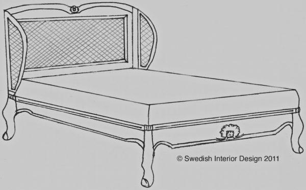 Bespoke Handmade Gustavian Cane Back Bed