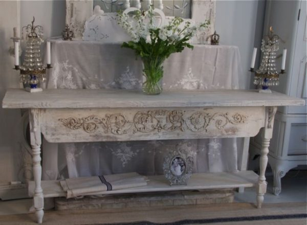 6 Foot Handmade Bespoke Antique PIne Grey Wash Lime Wash Painted Server Console Table