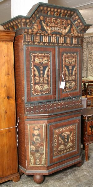 1800s Swedish Country Kurbits Folk Art Cupboard