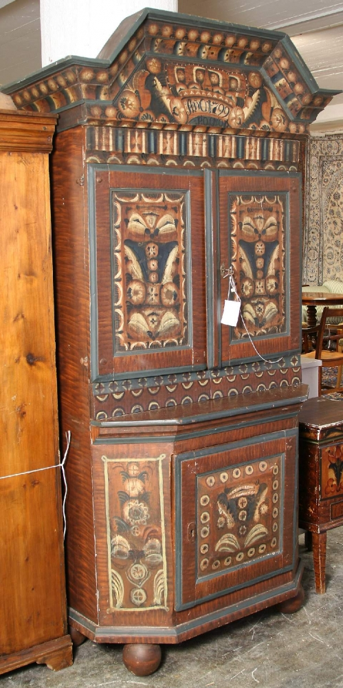 1800s Swedish Country Kurbits Folk Art Cupboard