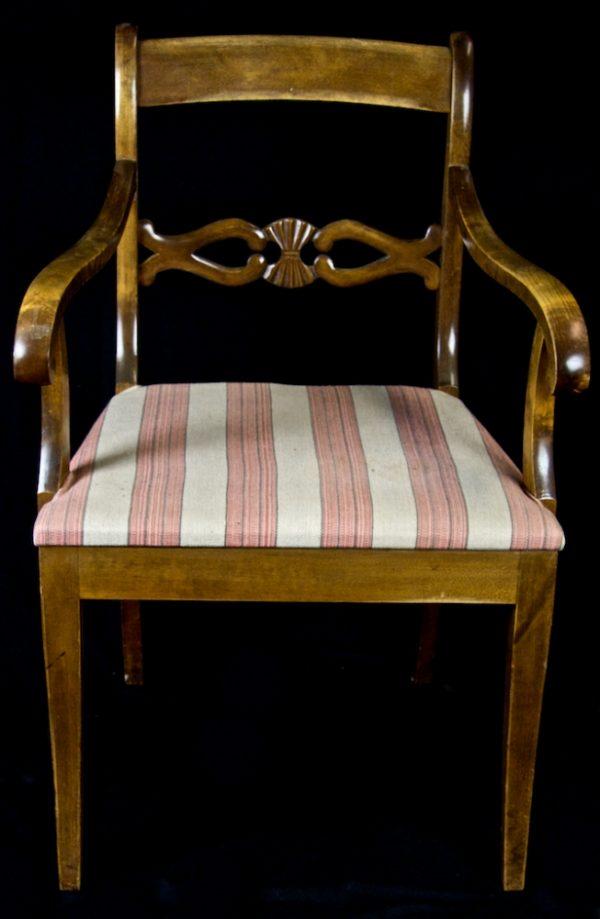 1800s Biedermeier Pink Stripe Carver Chairs