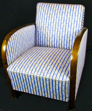 Original Swedish Art Deco Blue Striped Armchairs