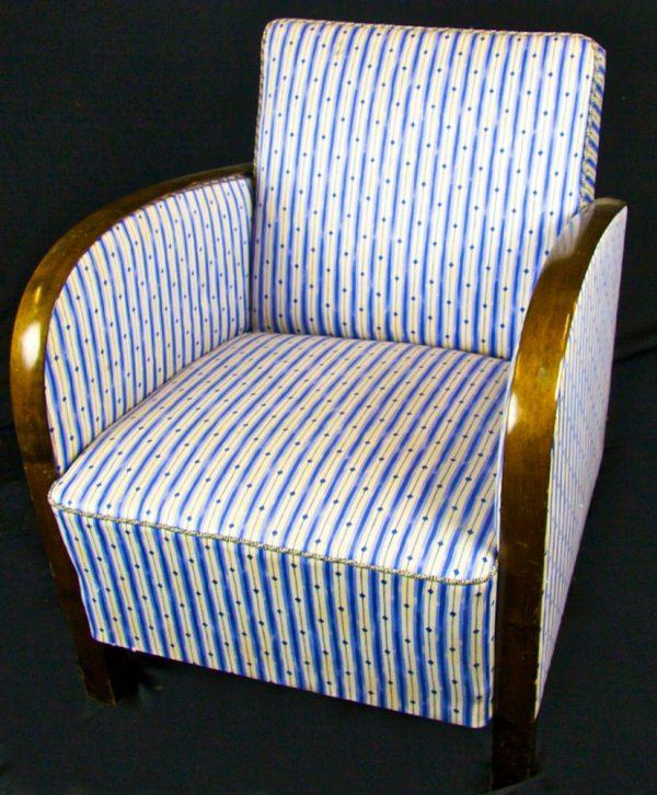 Original Swedish Art Deco Blue Striped Armchairs