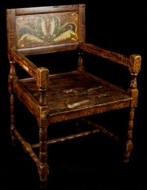 1900s Folk Art Kurbits Carver Chairs