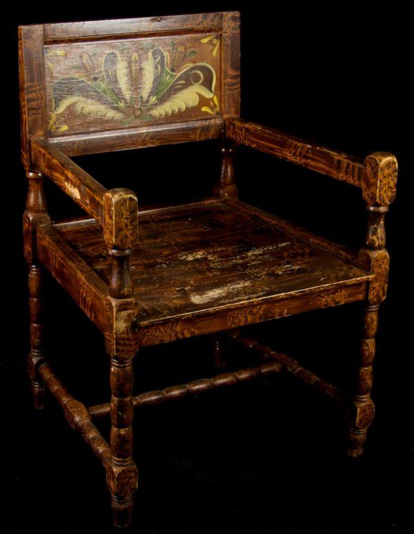 1900s Folk Art Kurbits Carver Chairs