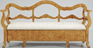 1800s Quilted Golden Birch Biedermeier Settle
