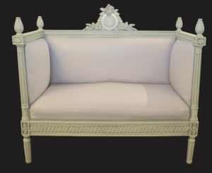 Handmade Bespoke Painted Gustavian Carved Sofa