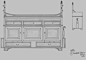 Bespoke Handmade Gustavian Sideboard With Umbrella Stand
