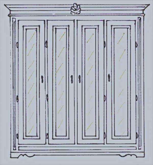 Handmade Bespoke 4 Door Gustavian Mirror Front Armoire