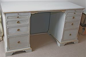Handmade Bespoke Gustavian Grey Painted Pedestal Desk with 10 drawers and Gilt edging