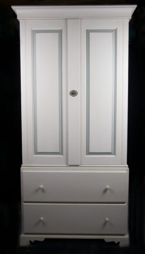 Handmade Bespoke Narrow 2 Door Gustavian Armoire