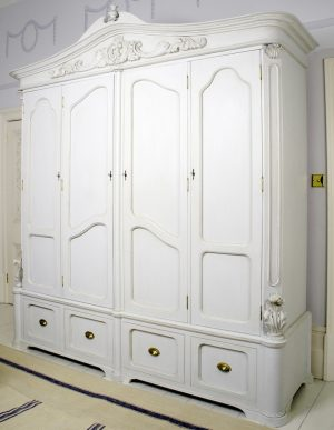 Handmade Bespoke 4 Door Carved Gustavian Armoire