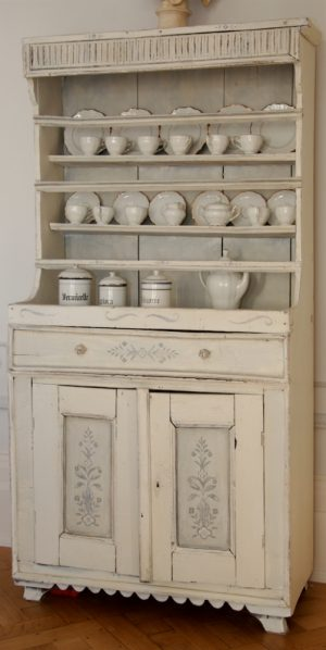 Handmade Bespoke White Floral Motif Country Dresser