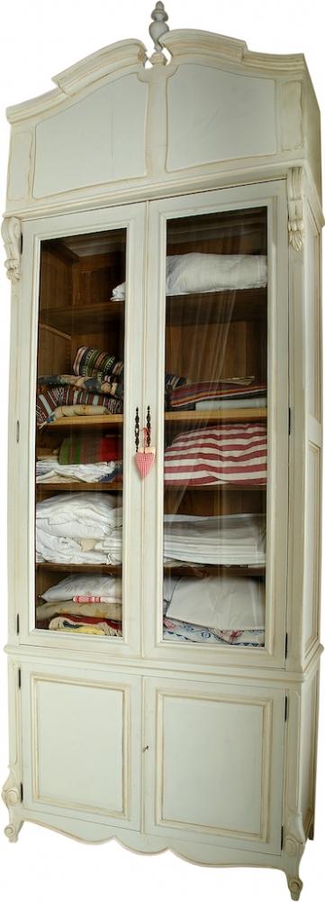 Handmade Gustavian 2 Door Glass Front Linen Press