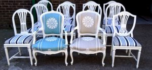 We specialise in mixed sets of Gustavian Chairs repainted