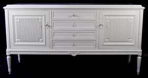 1900s Gustavian Painted Carved 4 Drawer Sideboard