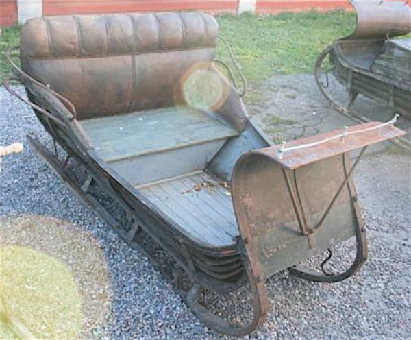 1800s Original Swedish Antique Double Seat leather upholstered Sleigh