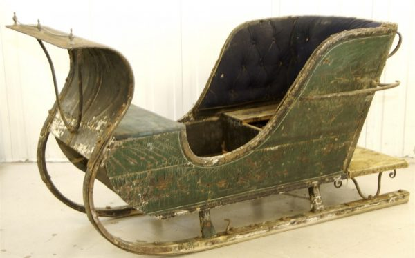 1800s Real Swedish Antique Green Single Sleigh