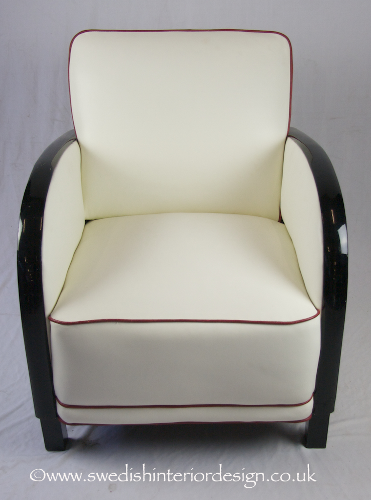 black arm art deco armchair in white leather