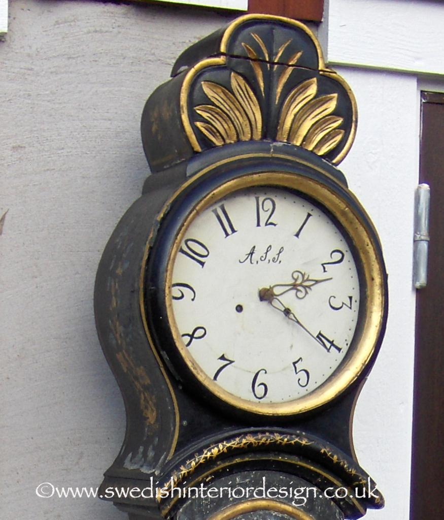 225cm antique swedish mora clock in black with gilt handpainting