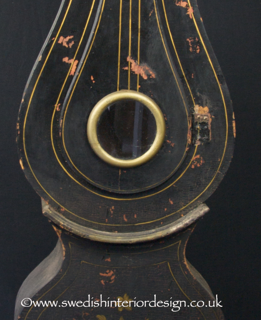 black and gold painted mora clock for sale