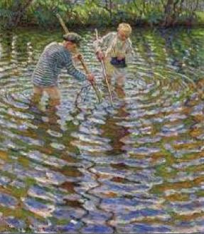 children catching crayfish in sweden