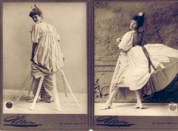 Victorian hoop skirts in use