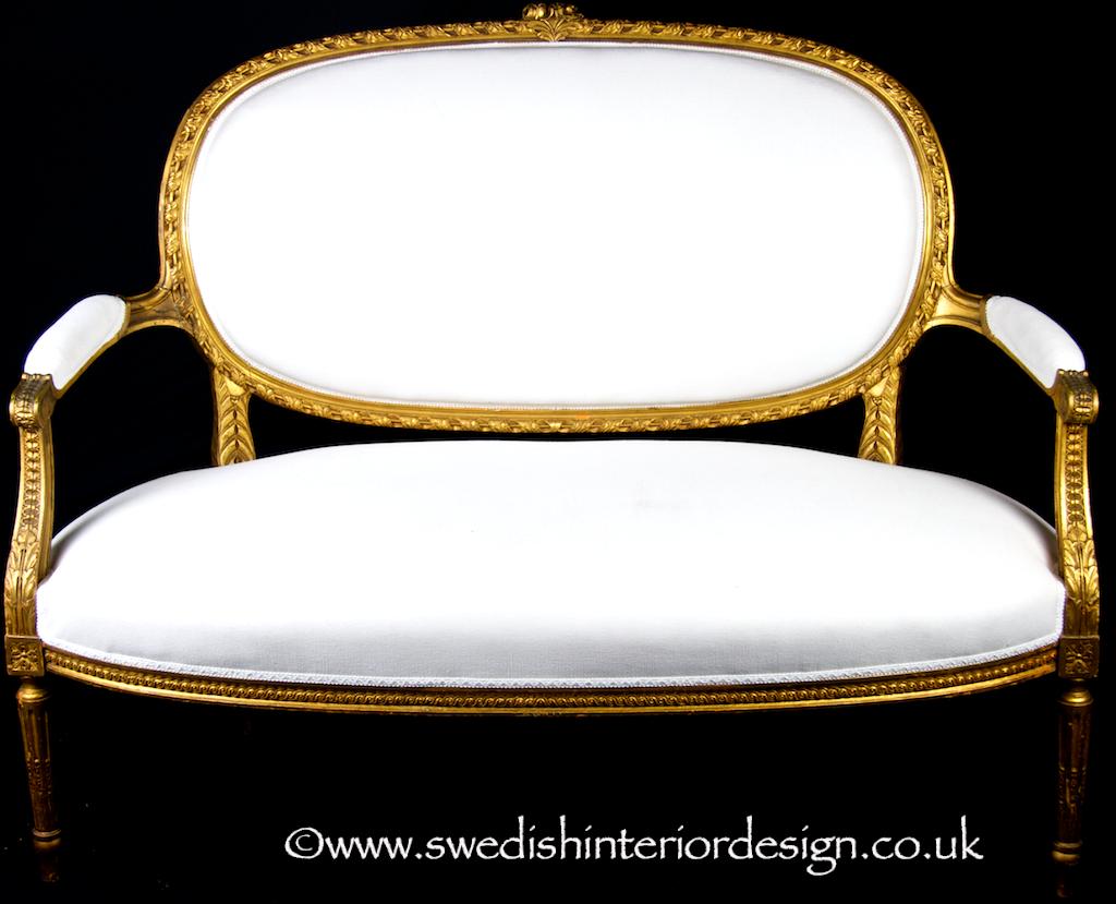 1850 antique swedish handcarved gustavian gilt sofa 120cm wide