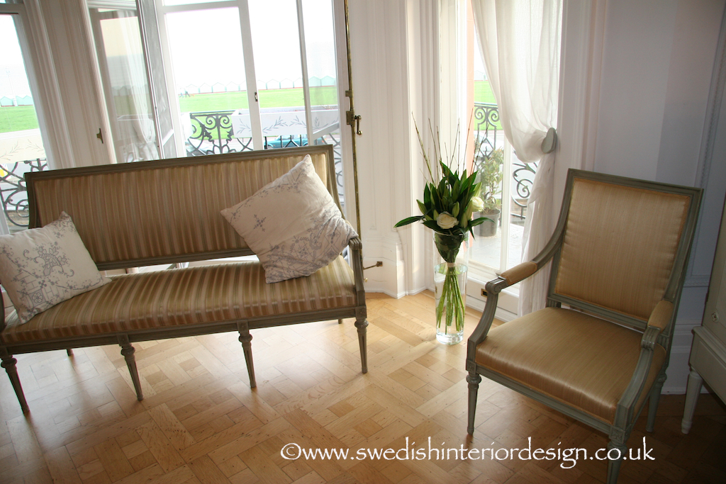 square back gustavian sofa and carver chairs