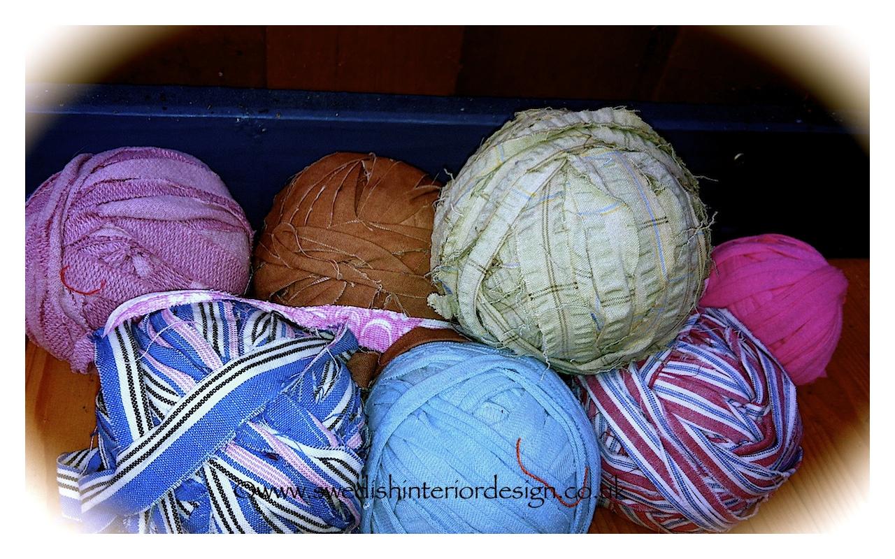 rolls of antique fabric