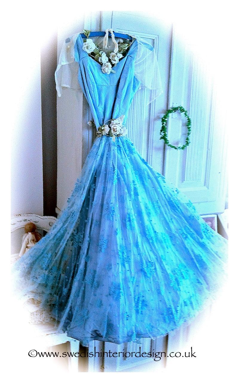 blue lace antique dress