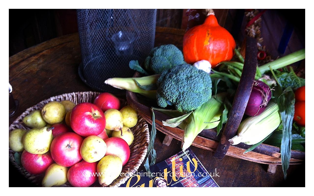 organic fruit and veg on antique swedish table
