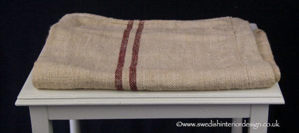 double burgundy stripe grain sack