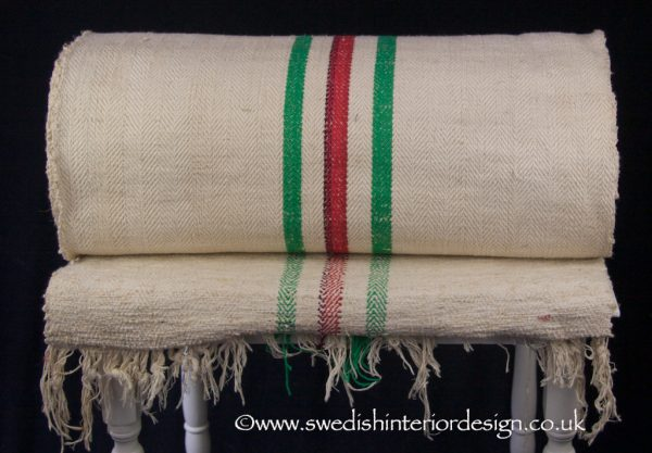 2 green red stripe hemp linen roll